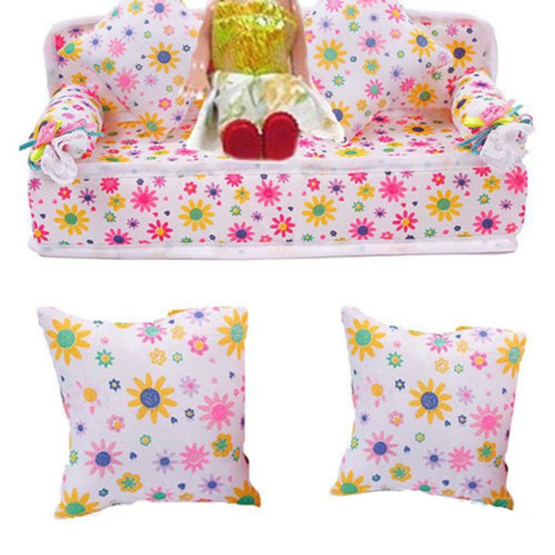 Mini Dollhouse Furniture Flower Soft Sofa Couch With 2 Cushions For Doll House Accessories
