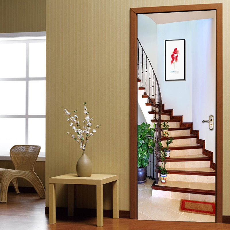 3D Staircase Door Sticker Creative Art PVC Self-adhesive Bedroom Living Room Wall Decor Door Stickers Mural Wallpaper Waterproof pvc self adhesive waterproof 3d mural stereo tiger broken wall creative diy door wallpaper home decor bedroom door wall sticker