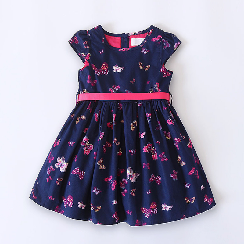 Summer Baby Girls Dress Multi Butterfly Girl Dresses Cotton Tiered Jersey Dress For Girl Fashion Kids Dress Child Clothes 2-10 Y navy tiered design mini dress