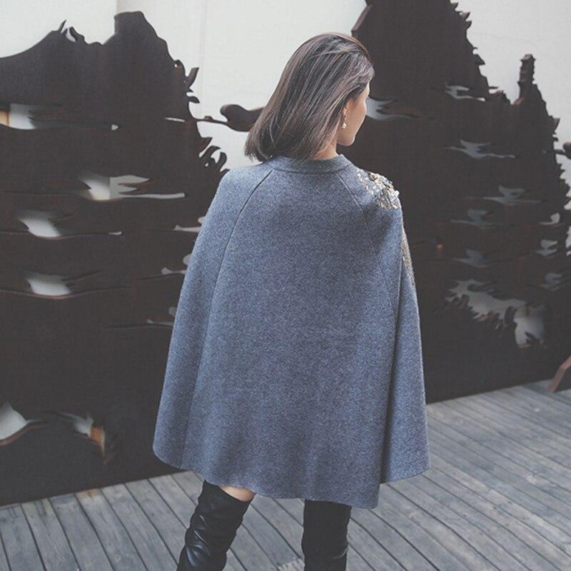 Invierno Británico Lentejuelas gris Suéter Otoño El Bordados Negro 2017 Grueso Y wAqtOFBn