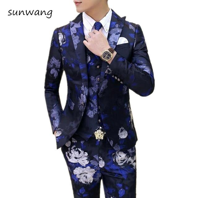 2017 Fashion Custom Made 3 Pcs Wedding Dress Mens Italian Suit ...