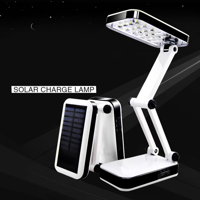 Solar Foldable Adjustable Desk Lamps Rechargeable Reading Lamps For Outdoor/Indoor Use (US Plug) Gift For Students