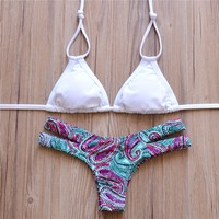 2015 Women Bandeau Bikini Reversible Print Swimsuit Strappy Swimwear Triangle Swimsuits Brazilian Bikini Set 1271