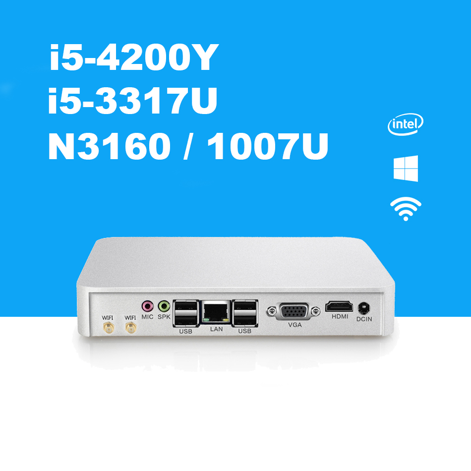 Fanless Mini PC Intel Core i5 4200Y 3317U Celeron N3160 1007U Mini Desktop PC HDMI VGA 300M WiFi Support Windows 7/8/10 mini pc 7th gen core i7 7500u fanless intel hd graphics 620 windows 10 300m wifi kaby lake desktop computer 8gb ram 512gb ssd