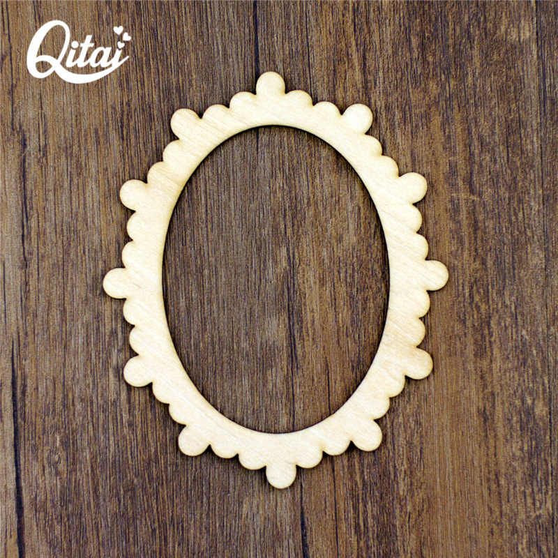 QITAI 12 pieces/lot Wooden Oval Shape Scrapbooking Embellishment Vintage Photo Wave Pattern Frame Home Decoration Craft WF045