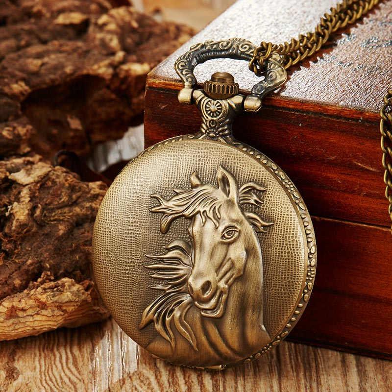 Vintage Fullmetal Alchemist Cute Horse Quartz Pocket Watch Men Women Retro Clock Men Necklace Pendant Chain Best Gifts