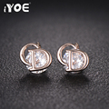 IYOE Classic C& D Letter Earrings For Women 2016 Simple White Gold Plated Crystal Stud Earrings Brinco Fashion Jewelry