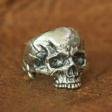 LINSION 925 Sterling Silver Skull Ring Mens Biker Rock Punk Ring TA135 US Size 7~14