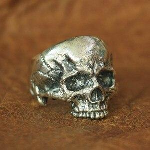 Image 1 - خاتم برقبة على شكل جمجمة من الفضة الإسترليني من LINSION موديل 925 للرجال خاتم روك بانك TA135 بمقاسات من 7 إلى 14