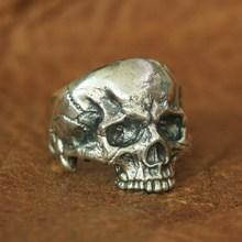 LINSION Anillo de Plata de Ley 925 con calavera para hombre, anillo Punk, estilo motociclista, Rock, TA135, talla US 7 ~ 14