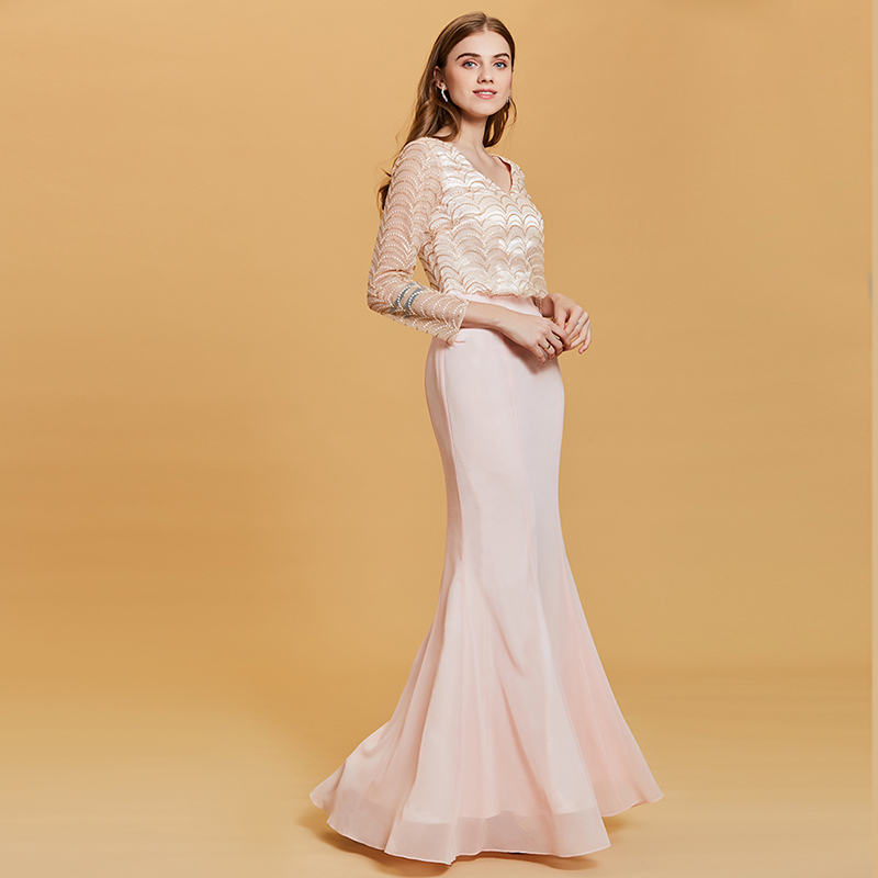 214030020c Tanpell lace v neck evening dress pearl pink full sleeves floor length  chiffon gown women formal long mermaid evening dresses
