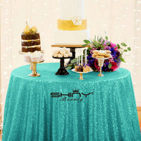 ShinyBeauty 90 Matte Green Sequin Tablecloth Table Cloth Party Sparkle Sequin Linens Custom Made Gold Sequin