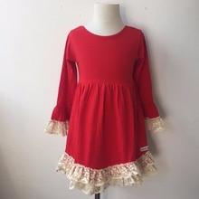 70124d27cc21e عارضة نمط الملابس أحدث 2017 تصاميم جديدة طويلة الأكمام فساتين الأحمر  الكروشيه الرباط ميدي سيدة اللباس للمرأة