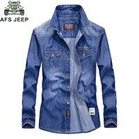 AFS JEEP Brand Denim Shirt Men Casual Military Long Sleeve Shirt Men Plus Size 4XL Men's Jeans Shirt hombre Camisa masculina