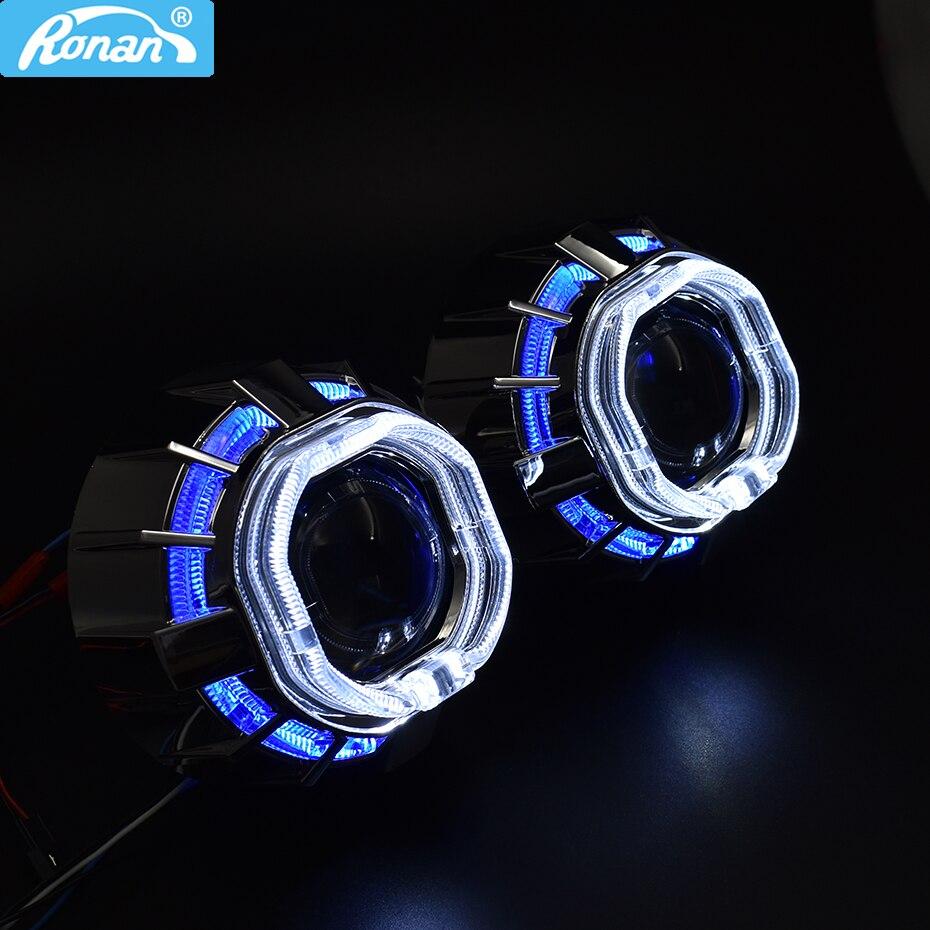 Ronan 2.5 pouces Bi xénon projecteur minii H1 lentille double LED ange yeux blanc bleu rouge jaune pour cay style phare modification