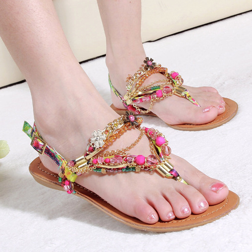 92890e464 Women s Beaded Crystal Bohemian T Strap Flip Flop Chains Decor flowers Flat  heels Lady s Roma silk Sandals shoes