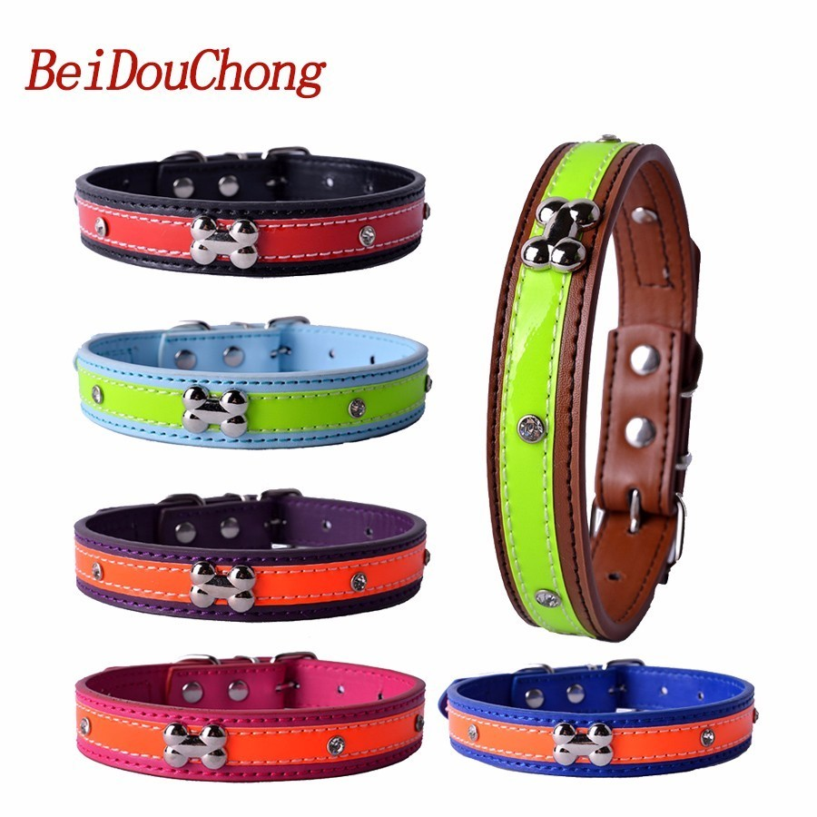 Wholesale Pu Leather Dog-Collar Crystal Studded Dog Bone Accessory Pet Neck Strap Small Pet Products Size S M L