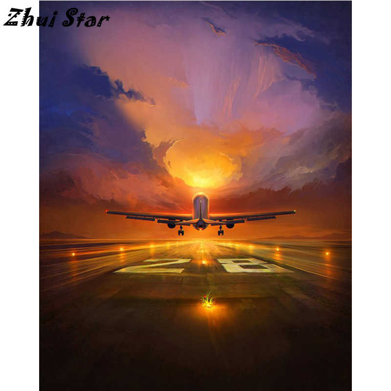 NEW Arrival Full Square Drill 5D DIY Diamond Painting Aircraft 3D Embroidery Cross Stitch Mosaic Set Home Decor FC1491