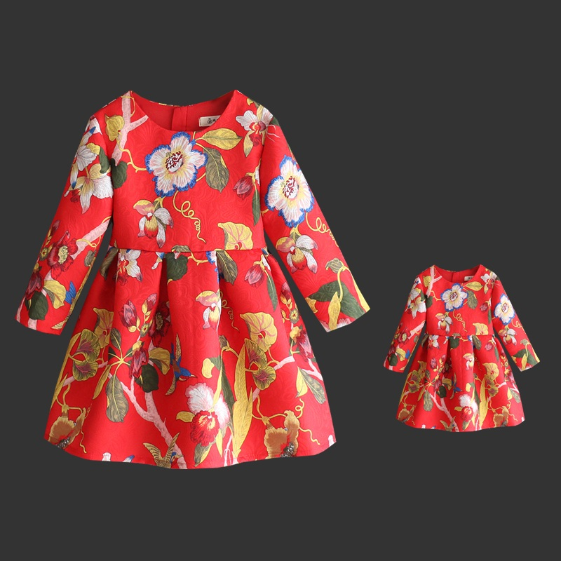 Spring Brand Mom Daughter Dress Family Matching Outfit Mother girl Fashion hummer print full sleeve Dress Mother & Kids Clothes fashion mother