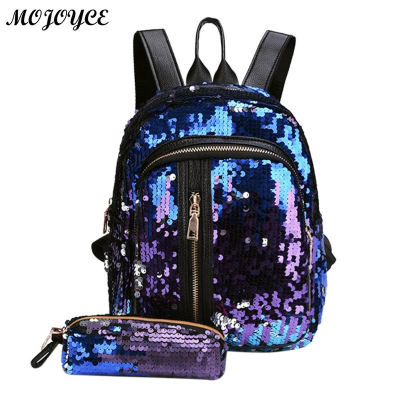 2pcs/1pc New Sequins Backpack New Teenage Girls Fashion Bling Rucksack Students School Bag With Pencil Case Clutch Mochilas