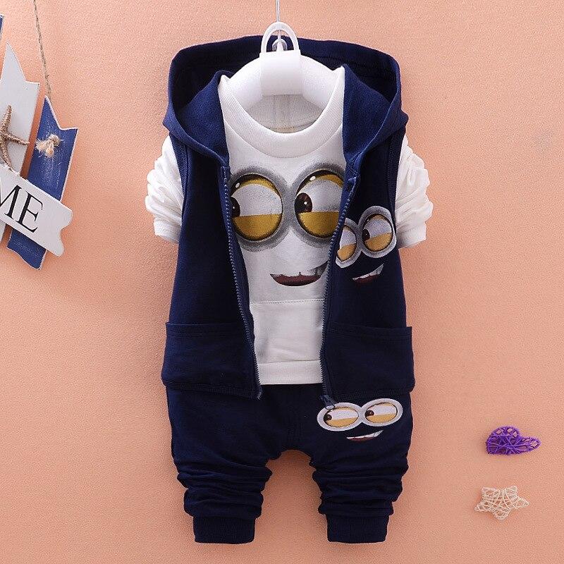 3Pcs/Set Spring Autumn Newborn Baby Boy Clothes Sets Vest+T Shirt+Pant Baby Girl Clothes Minion Set Children Kids Clothes V20