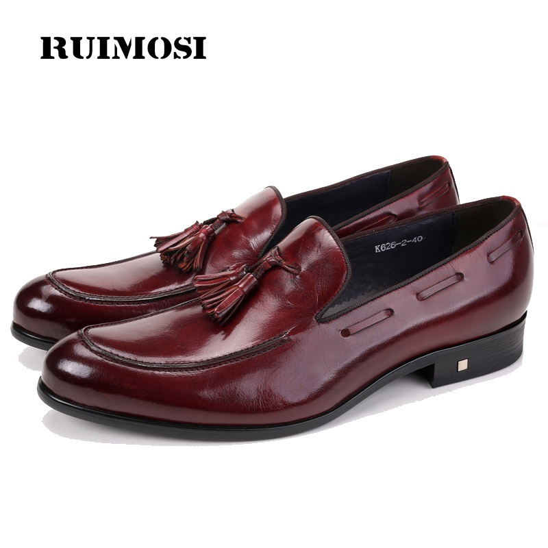 RUIMOSI New Arrival Round Man Casual Shoes Genuine Leather Comfortable Loafers Designer Brand Tassels Men's Business Flats CE55