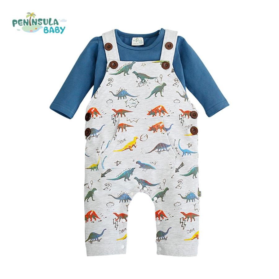 5144bae4f Autumn Cotton Baby Boy Clothes Baby Romper Kids Clothes Set Jumpsuit +  T-shirt Cartoon Cars Dinosaur Baby Clothing sets
