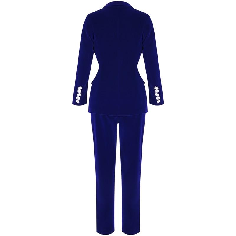 Image 4 - Conjuntos de verano Ocstrade para mujeres 2019 nuevo azul marino cuello en V manga larga Sexy conjunto de 2 piezas trajes de alta calidad conjunto de dos piezas-in Conjuntos de mujer from Ropa de mujer on AliExpress