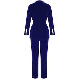 Image 4 - Ocstrade conjuntos de verão para as mulheres 2020 novo azul marinho com decote em v manga longa sexy 2 peça conjunto roupas alta qualidade conjunto duas peças terno