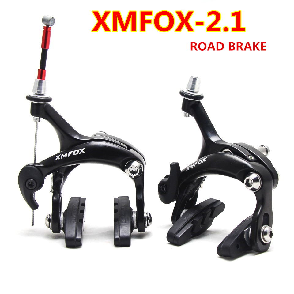купить XMFOX-AS2.1 1 piece Bicycle Brake Racing Road Dual Pivot Bike Aluminum Side Pull Caliper Brake Front Rear Brake white balck по цене 654.37 рублей