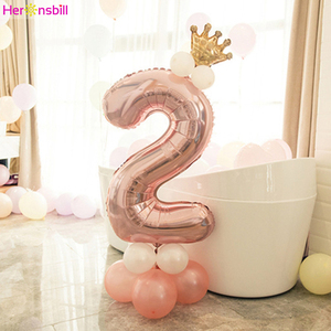 15pcs 2 Years Old Column Balloons Kits 2nd Birthday Party Decoration I Am Two Baby Boy Girl Latex Ballon Foil Supplies Rose Gold