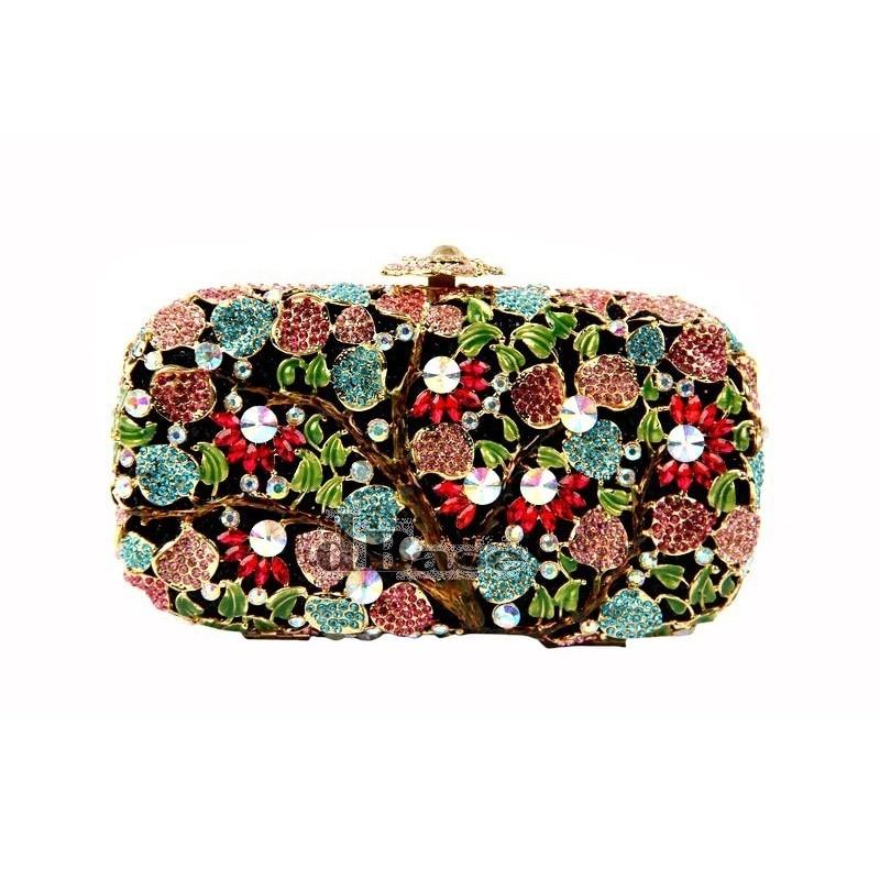 ФОТО 8267C Multi-color TREE Floral Flower Crystal Bridal Party Night Hollow Metal Evening purse clutch bag case box handbag