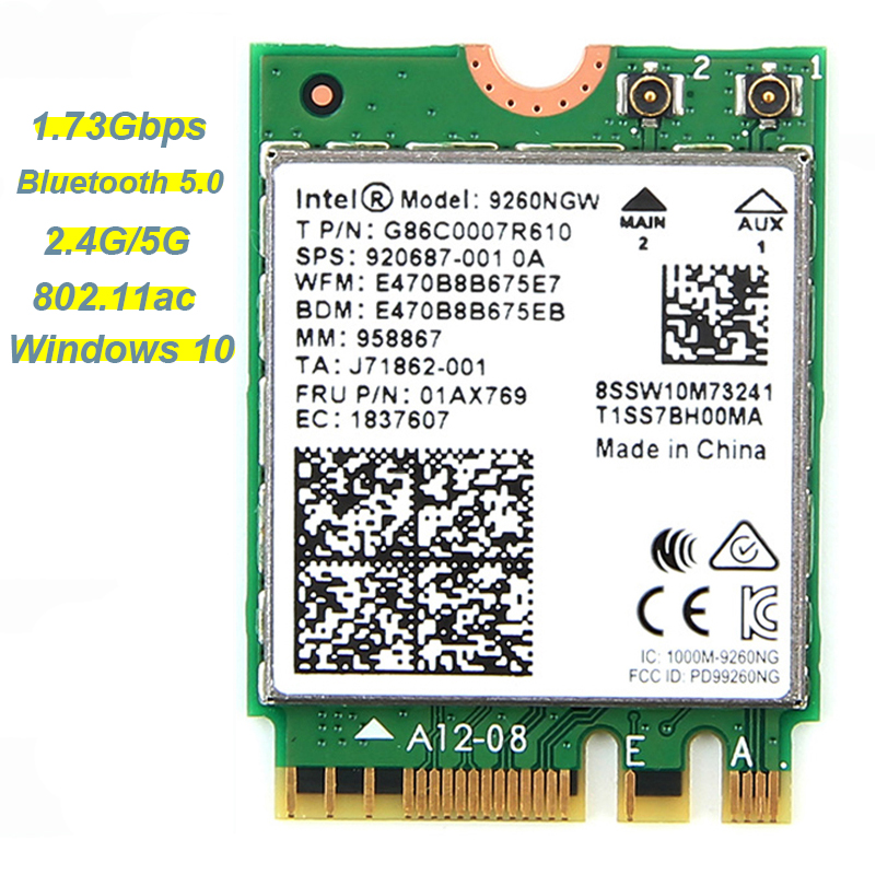 1,73 Gbps 9260NGW NGFF red tarjeta Wifi para Intel ac 9260 de 2,4g/5 GHz 802.11ac Wi-Fi Bluetooth 5,0 para el ordenador portátil Windows 10