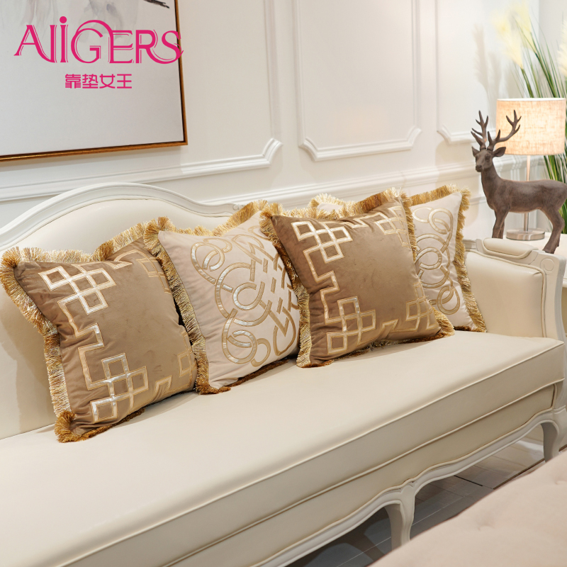 avigers embroidery velvet tassel cushion cover luxury pillow cover pillow case geometry home decorative sofa chair throw pillow
