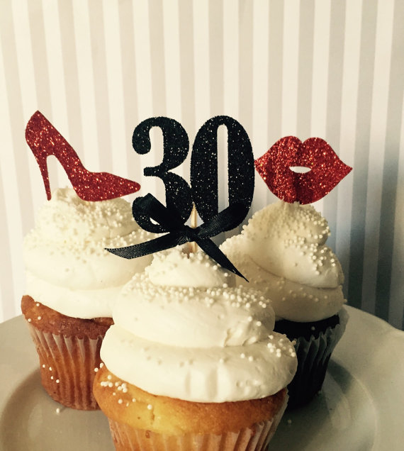 Custom Number Glitter Lips Shoes 30th Birthday Cupcake