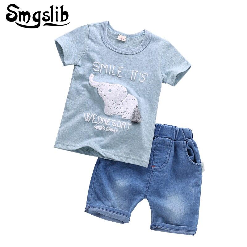 e2142a7bed3e6 Bébé garçon vêtements ensemble enfants Éléphant T-shirt Tops + Denim ...