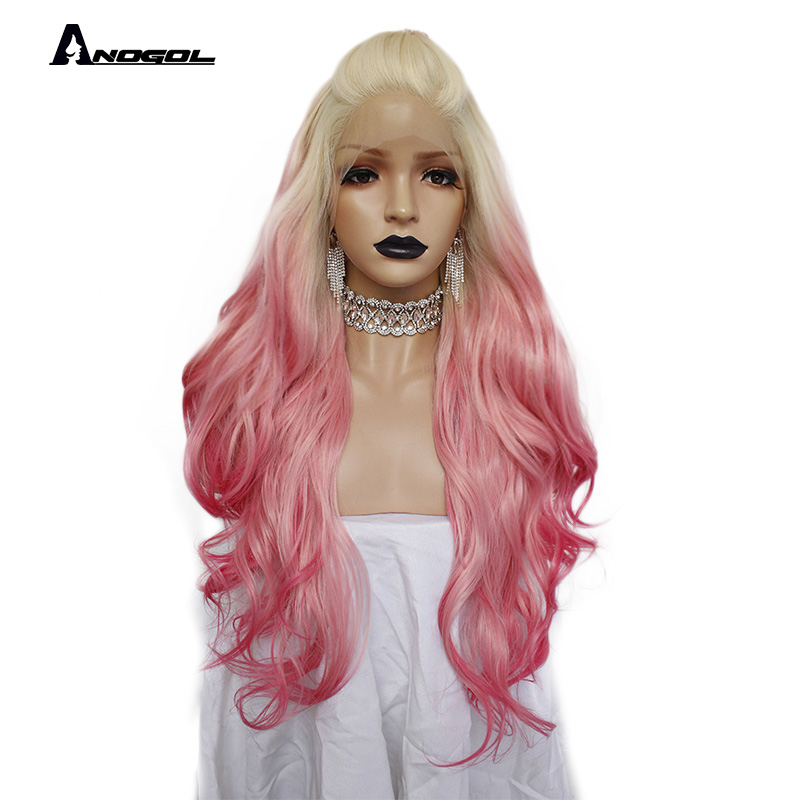 Anogol Side Part Natural Long Body Wave High Temperature Fiber 613 Platinum Blonde Ombre Pink Synthetic
