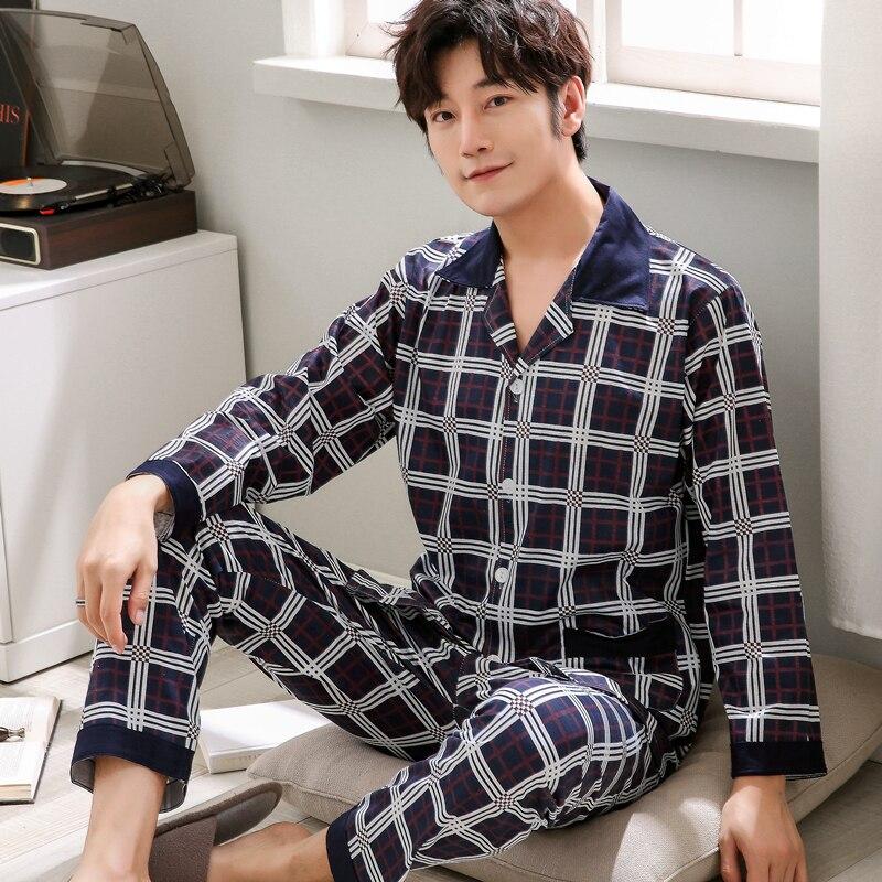 Pajamas Men Winter Tracksuit Men's Cotton Autumn Plaid Hombre Plus-Size Long-Sleeved