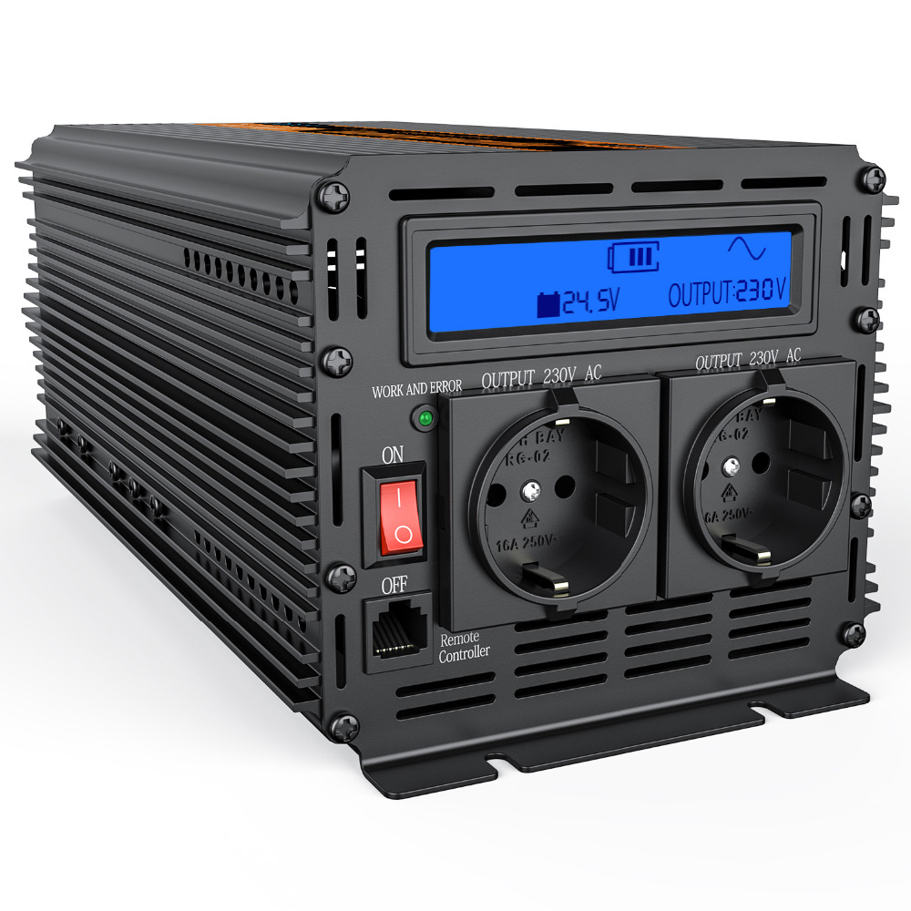 DC <font><b>24V</b></font> to AC 220V <font><b>2000w</b></font> power <font><b>inverter</b></font> with LCD display modified sine wave outdoor converter image