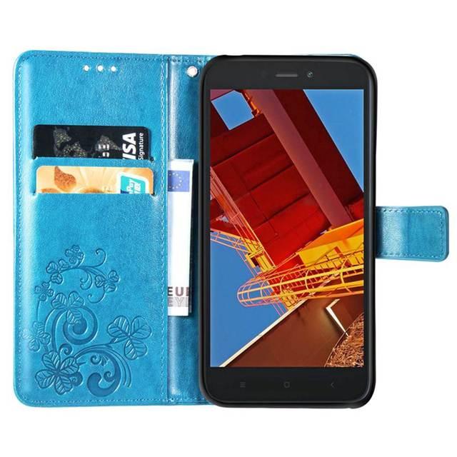Étui portefeuille redmi GO pour xiaomi redmi GO étui redmi GO etui de téléphone en cuir synthétique polyuréthane pour xiaomi redmi GO 3D couvercle en relief trèfle