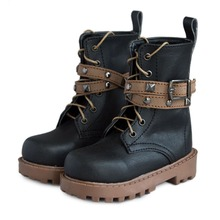 wamami 46 1 3 SD Black Brown Locomotive BJD Doll Rivet Synthetic Leather Boots