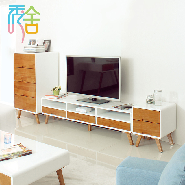 Show Homes Nordic Combination Of Modern Tv Cabinet Rhinestone Paint Wood Cabinets White Ikea Audiovisual