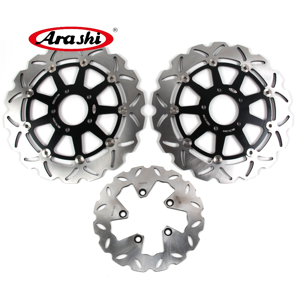 Arashi 1 Set CNC Front & Rear Brake Disc Brake Rotors For Suzuki Hayabusa GSX1300R 1999 2000 2001 2002 2003 2004 2005 2006 2007 2x front brake rotors disc braking disk for moto guzzi breva griso 850 2006 california 1100 ev 1996 2000 griso 1200 8v 2007 2011