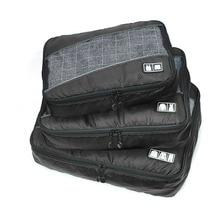 Купить с кэшбэком HHYUKIMI 3 Pcs/Set Polyester Unisex Packing Cubes Clothes Lightweight Luggage Travel Bags For Shirts Waterproof Bag Organizers