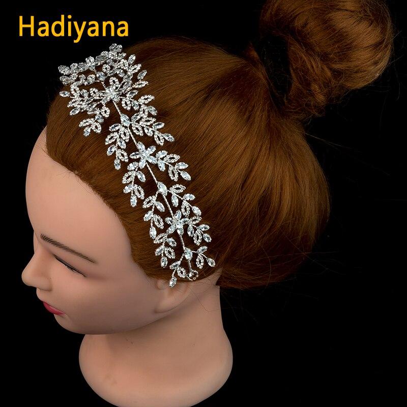 Hadiyana New Luxury Wedding Crown Bridal Tiaras Shining Cubic Zirconia Charm Women Sliver Barrettes Copper For Party Prom BC4688