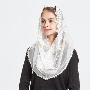 Image 3 - תחרה אינפיניטי צעיף נשים שנהב חתונת הכלה שושבינה רך קפלת רעלה מנטילת מסורתי קתולי חיג אב מוסלמי צעיף