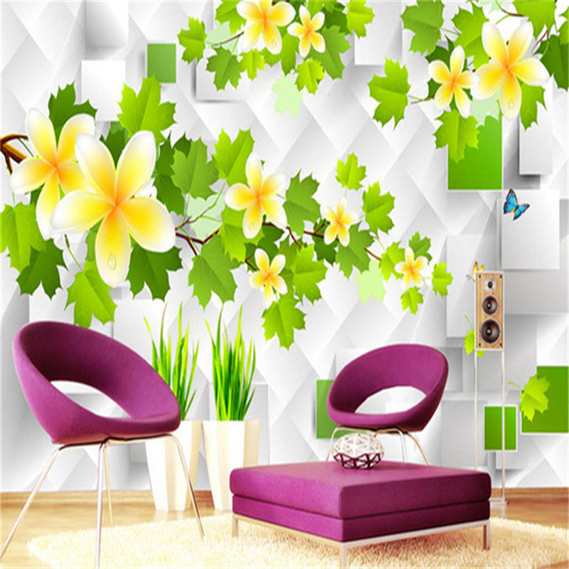 3D Photo Custom Wallpapers Stereoscopic Green Rattan White TV Wallpaper Leaf Wall Mural Wallpaper Home Decor Wall Paper custom baby wallpaper snow white and the seven dwarfs bedroom for the children s room mural backdrop stereoscopic 3d