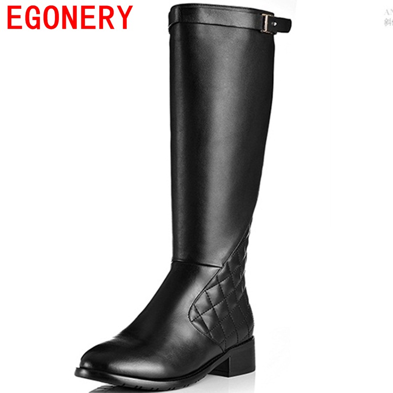ФОТО EGONERY shoes 2017 hot sale high quality women fashion motorcycle boots handsome buckles round toe sqare heel knee high boots