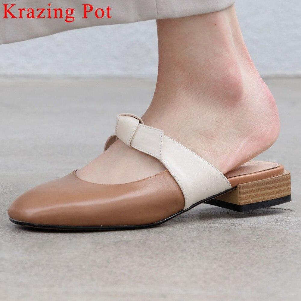 Krazing 냄비 복고풍 간단한 편안한 혼합 색상 낮은 발 뒤꿈치 광장 발가락 펌프 나비 매듭 장식 천연 가죽 뮬 l06-에서여성용 펌프부터 신발 의  그룹 1
