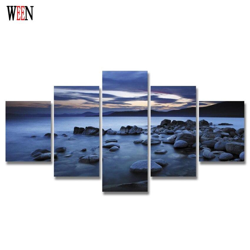 УИН в рамке 5 шт. камень большой морской пейзаж на стену картины для гостиной HD печатные современные Куадрос Decoracion плакат 2017 искусство